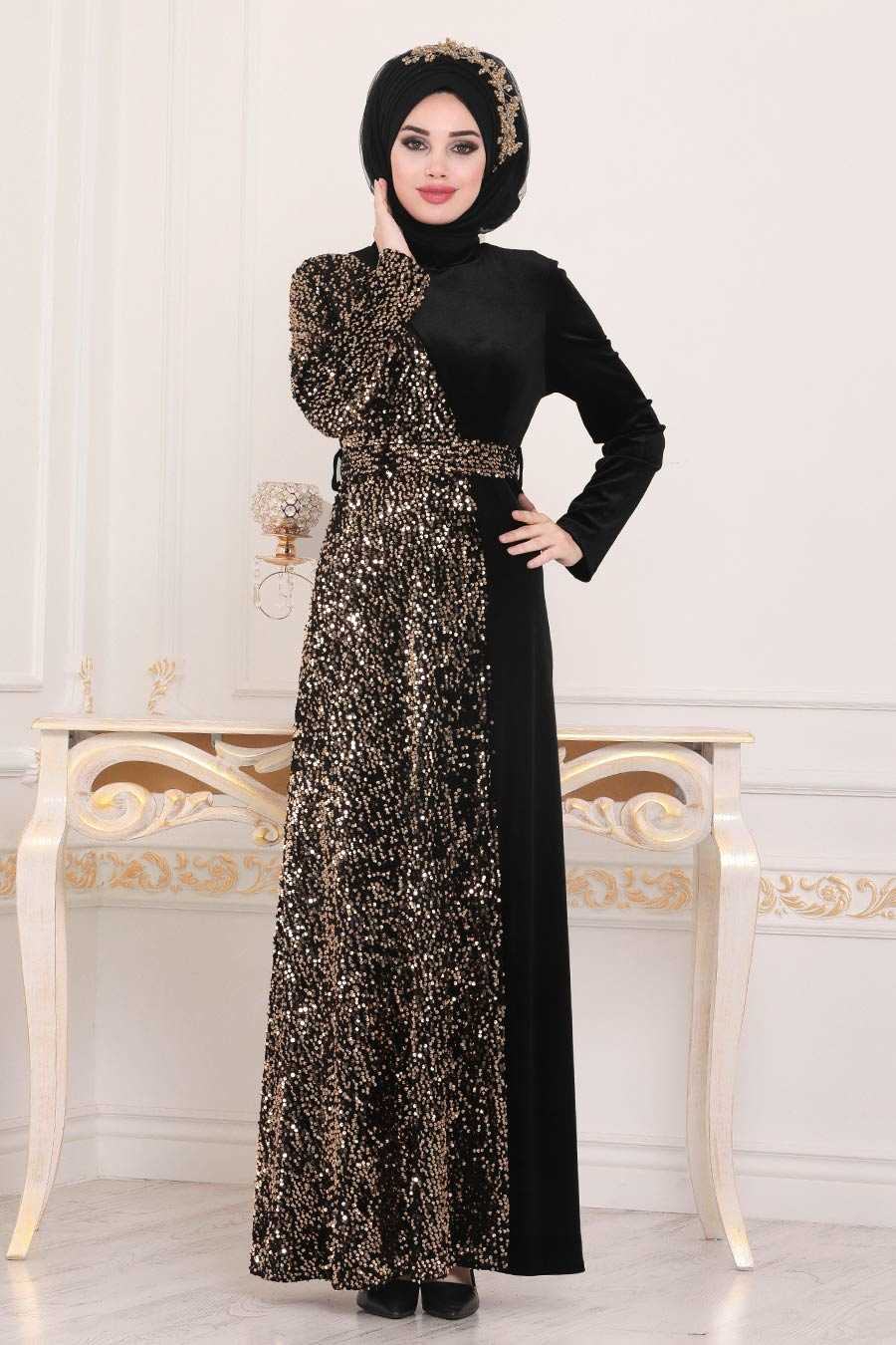 Gold Hijab Evening Dress 8738GOLD
