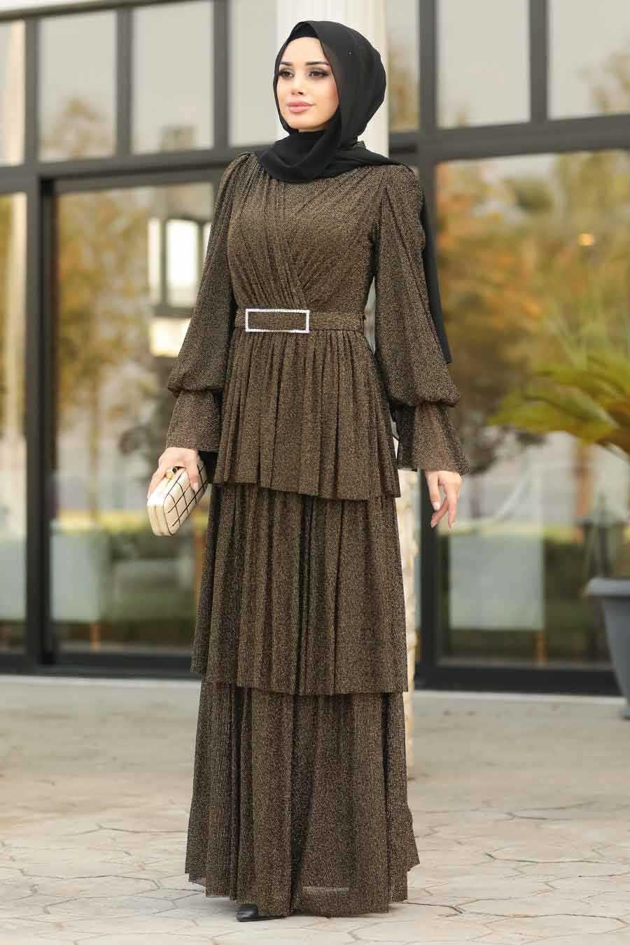 Gold Tesettür Abiye Elbise 40191GOLD