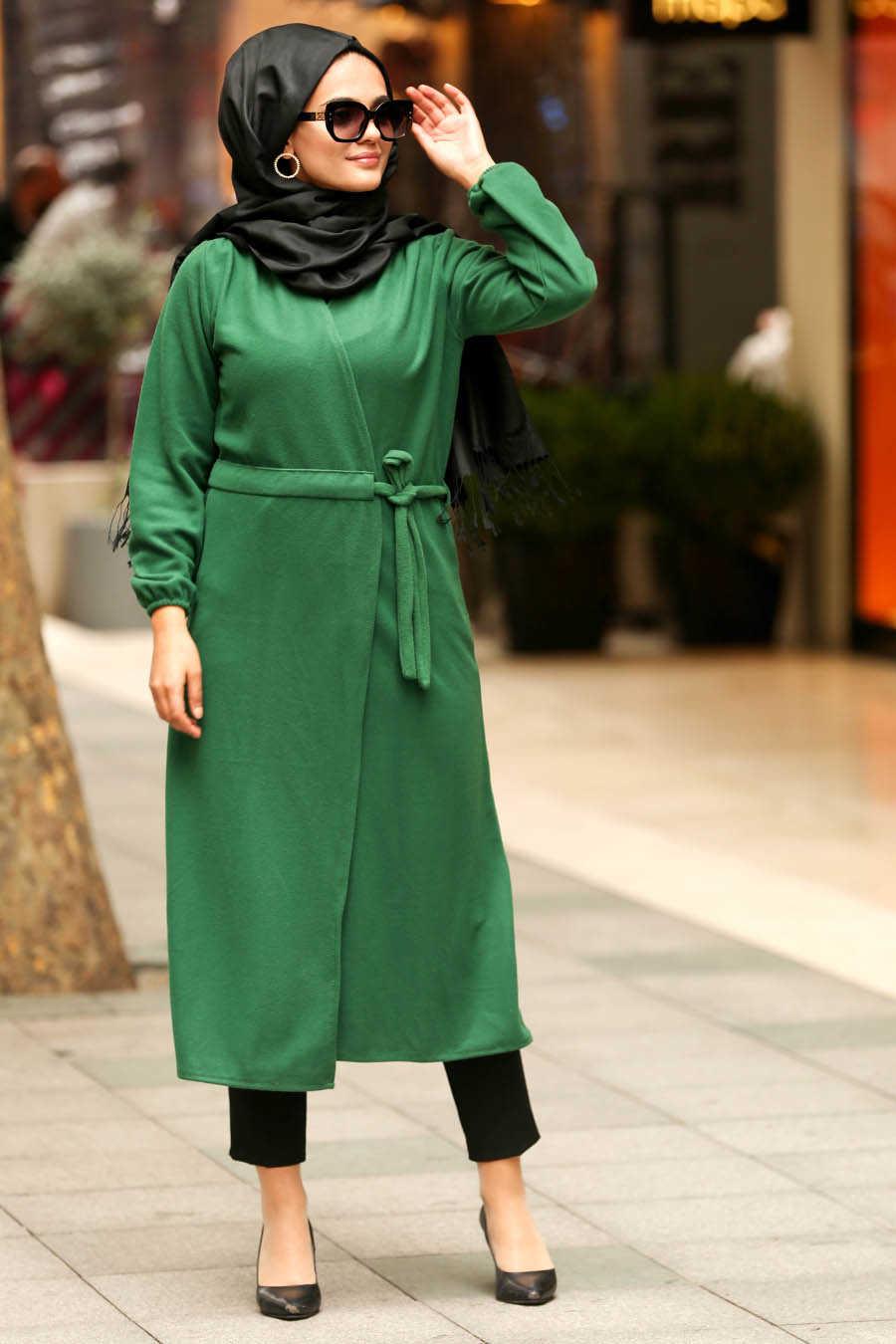 Green Hijab Coat 2473Y