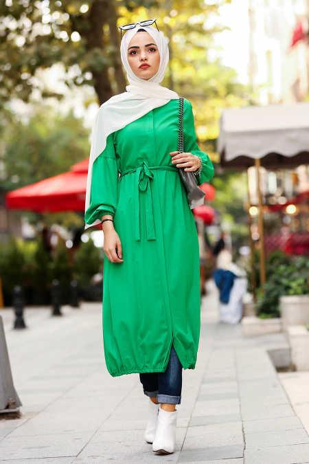 Neva Style - Green Hijab Coat 40430Y