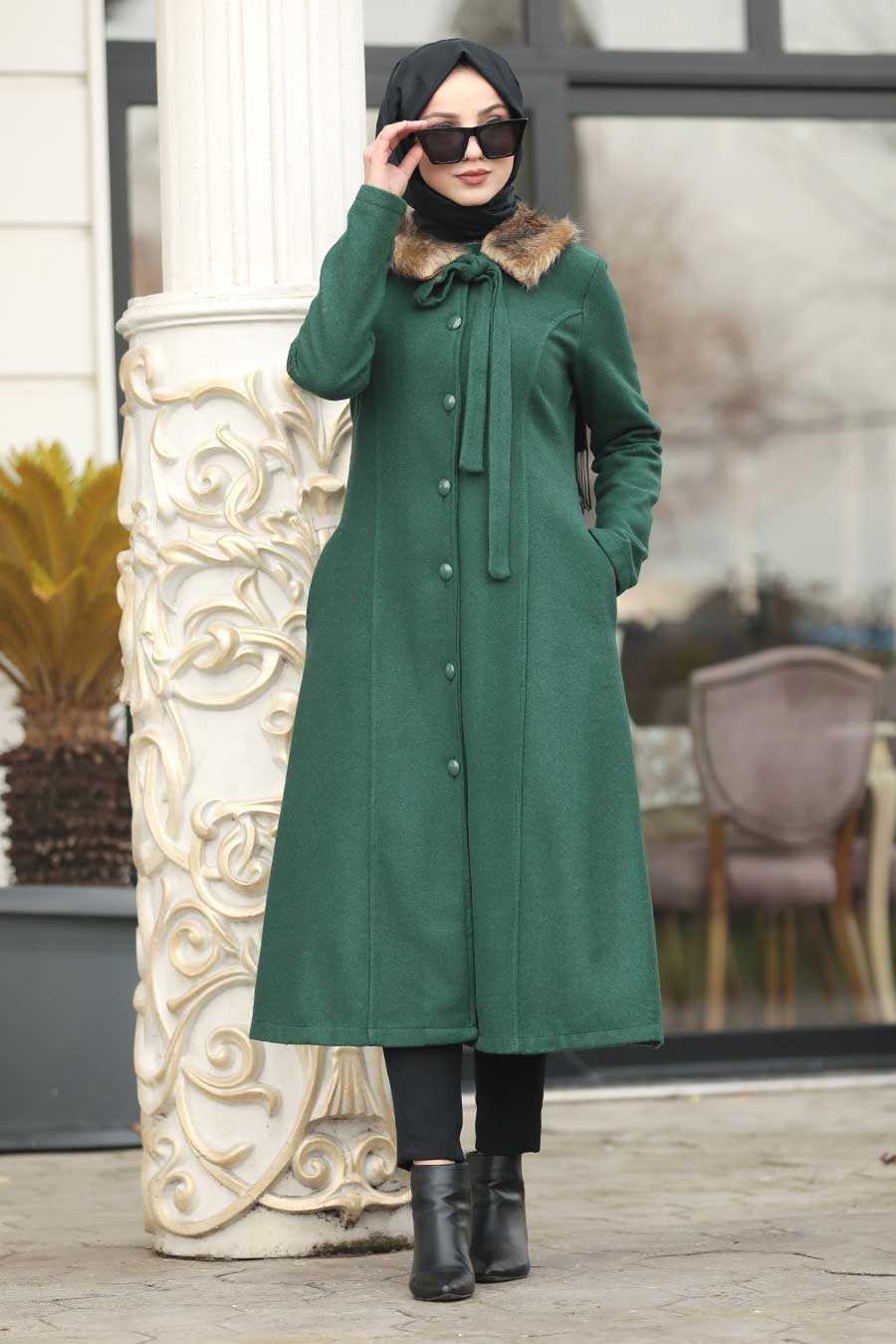 Green Hijab Coat 50840Y