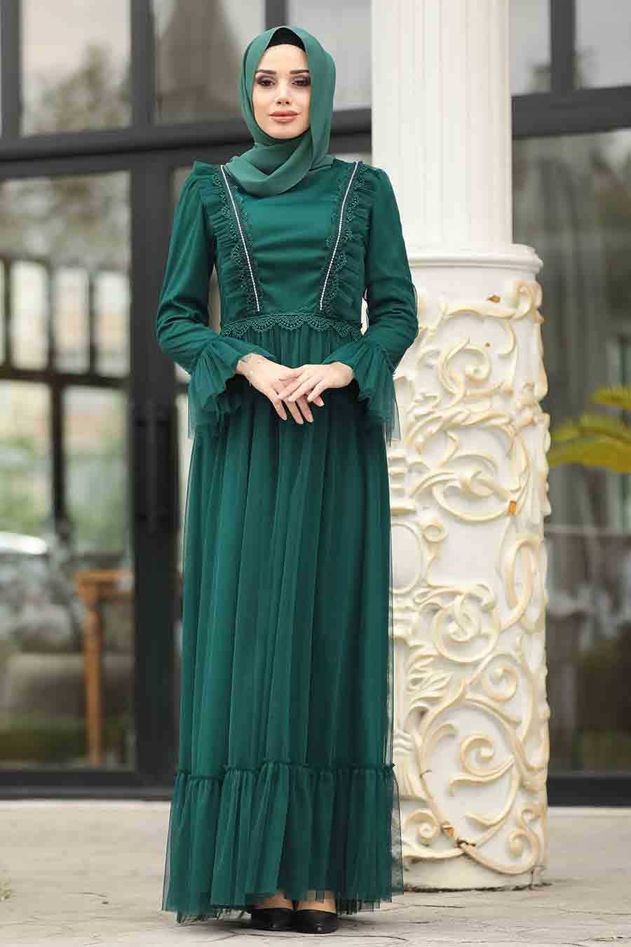 Green Hijab Evening Dress 38980Y