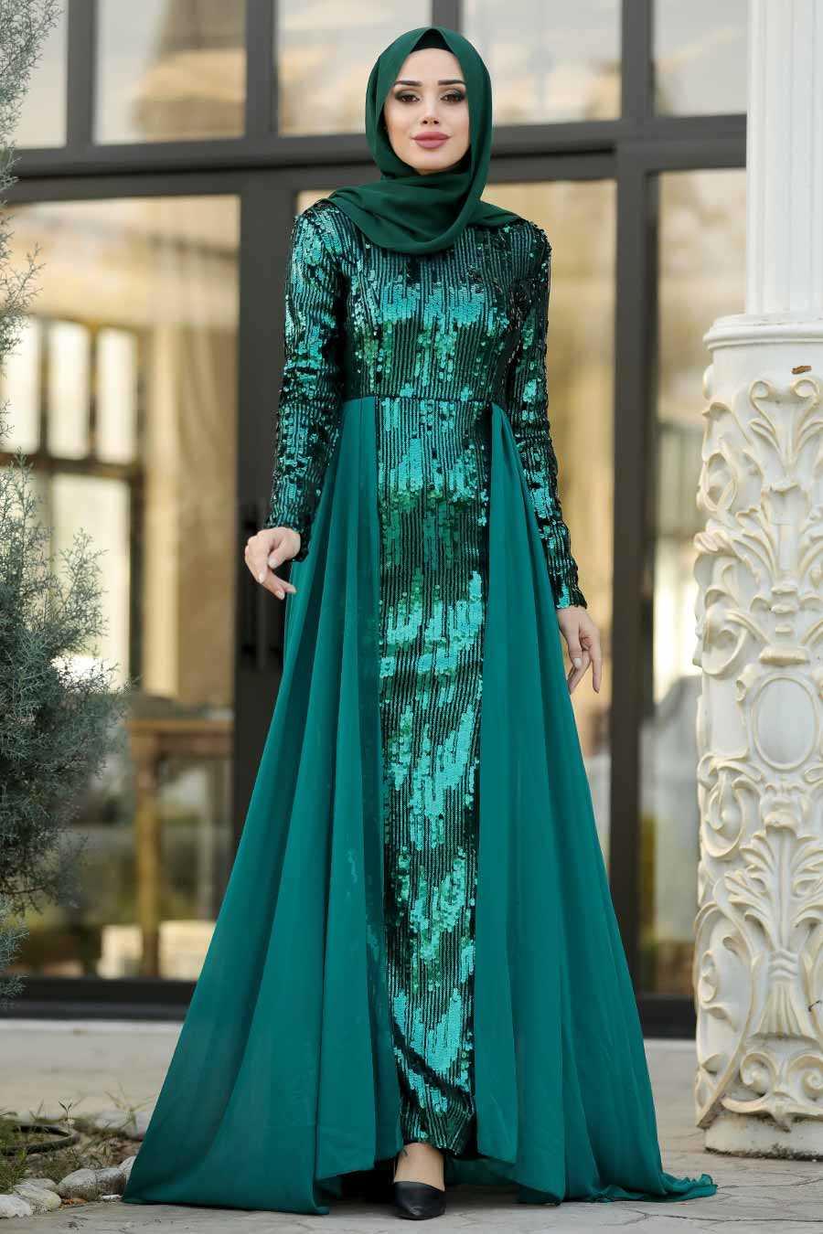 Green Hijab Evening Dress 9111Y