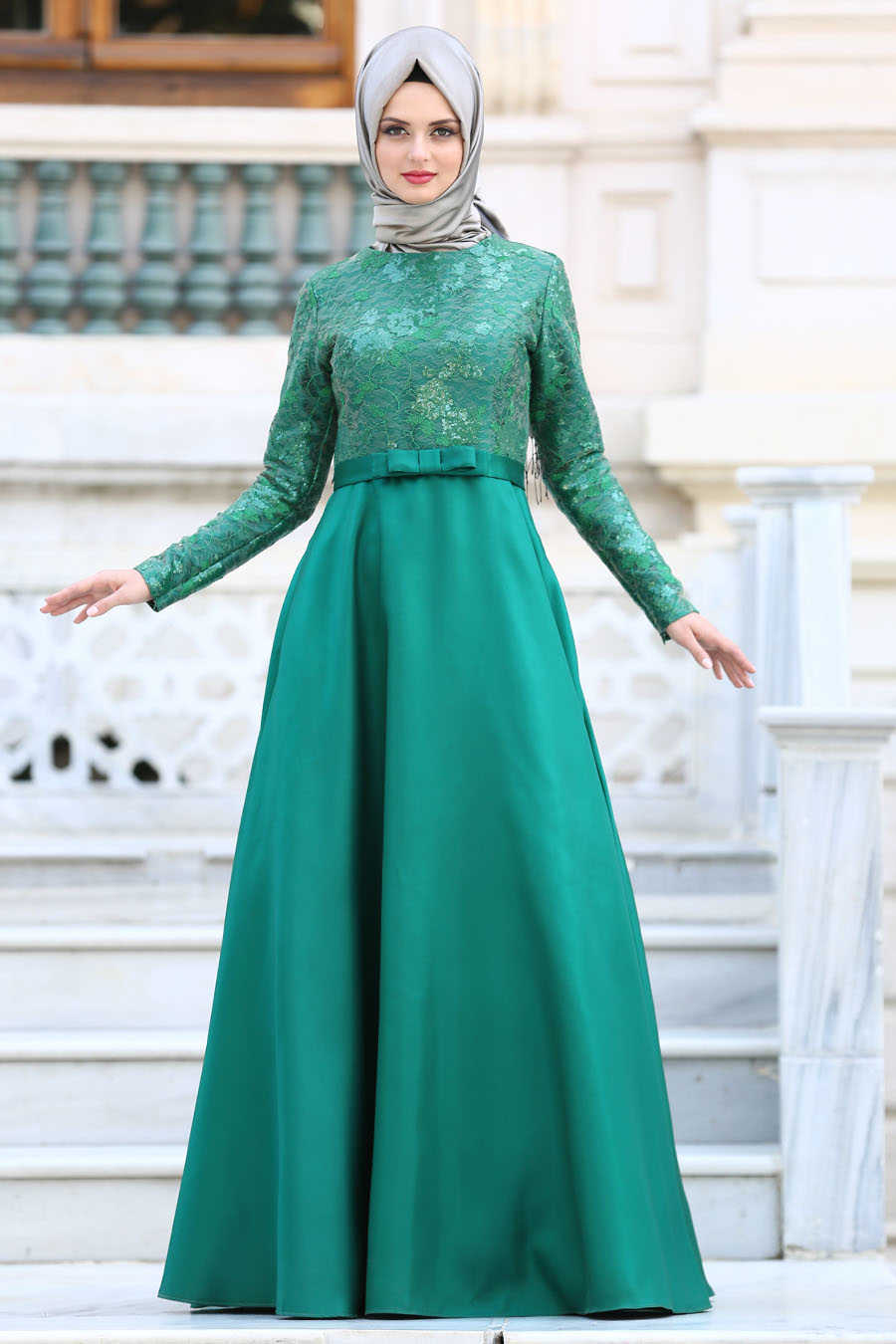 Green Hijab Evening Dress 2372Y