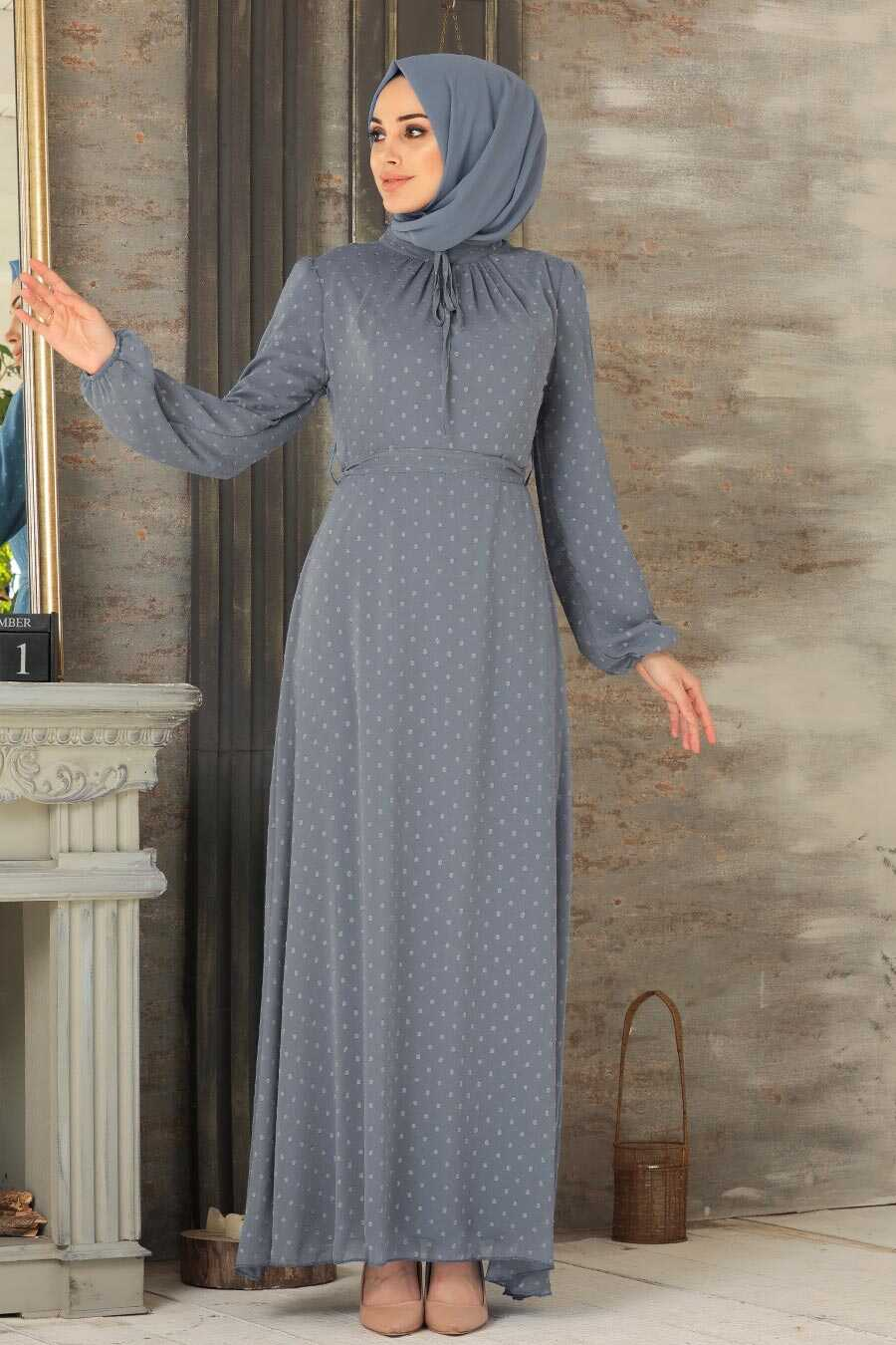 Grey Hijab Dress 2734GR