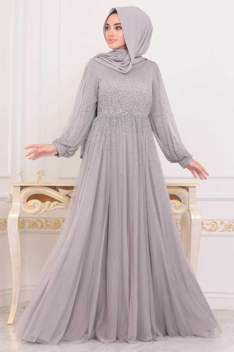 Grey Hijab Evening Dress 21501GR