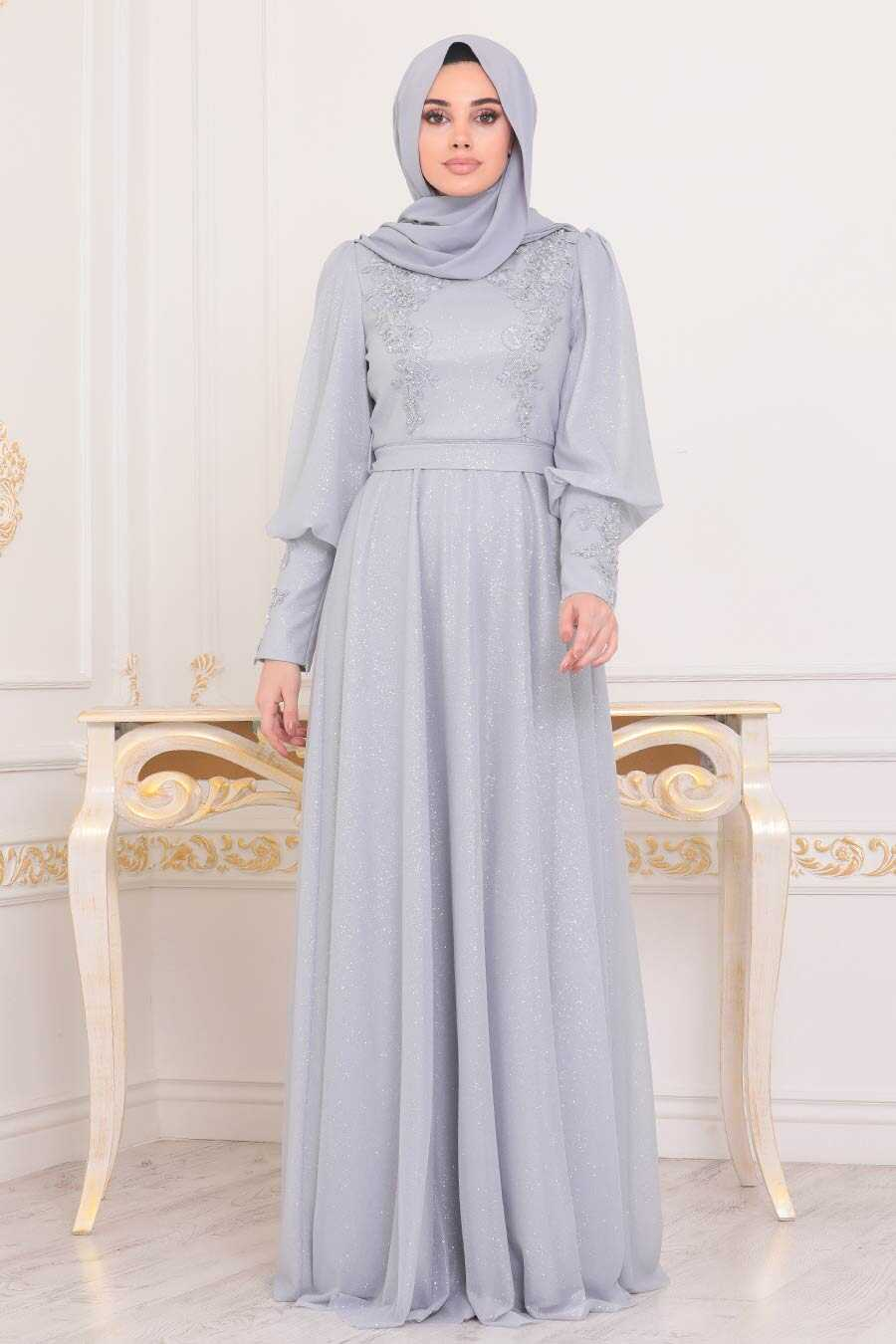 Grey Hijab Evening Dress 21521GR