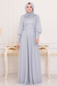 Grey Hijab Evening Dress 21521GR - Thumbnail