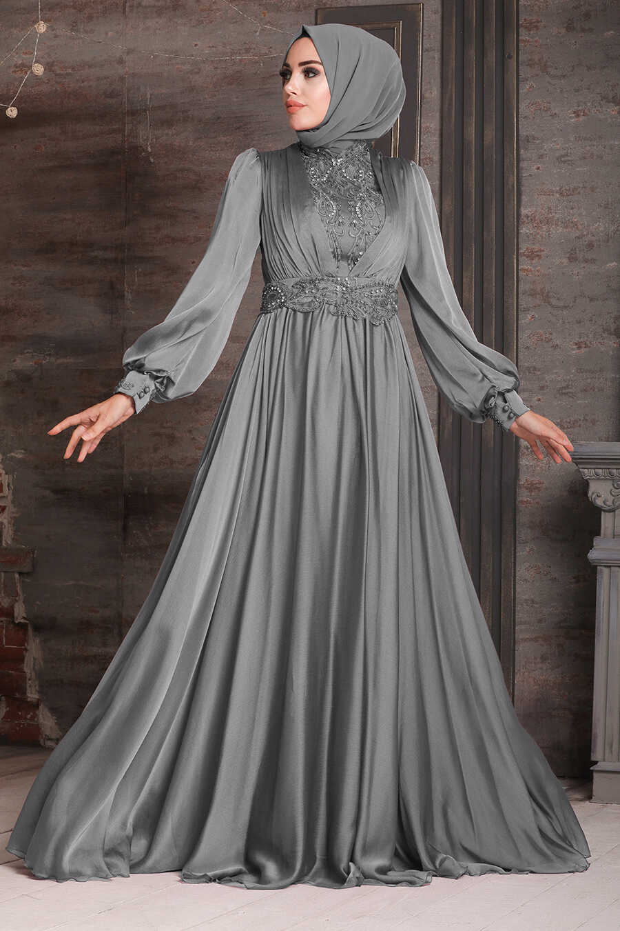 Grey Hijab Evening Dress 21540GR