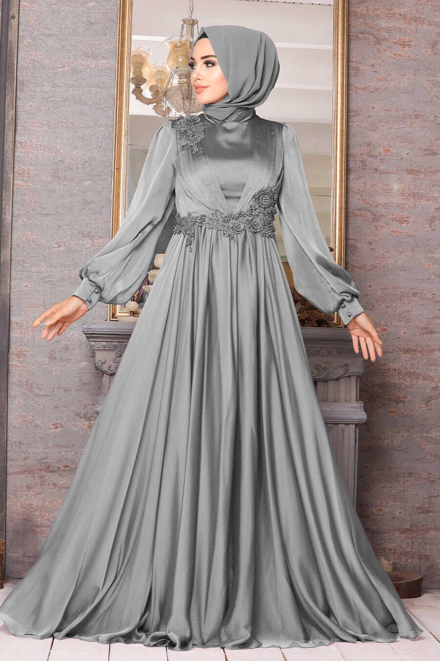 Grey Hijab Evening Dress 21630GR