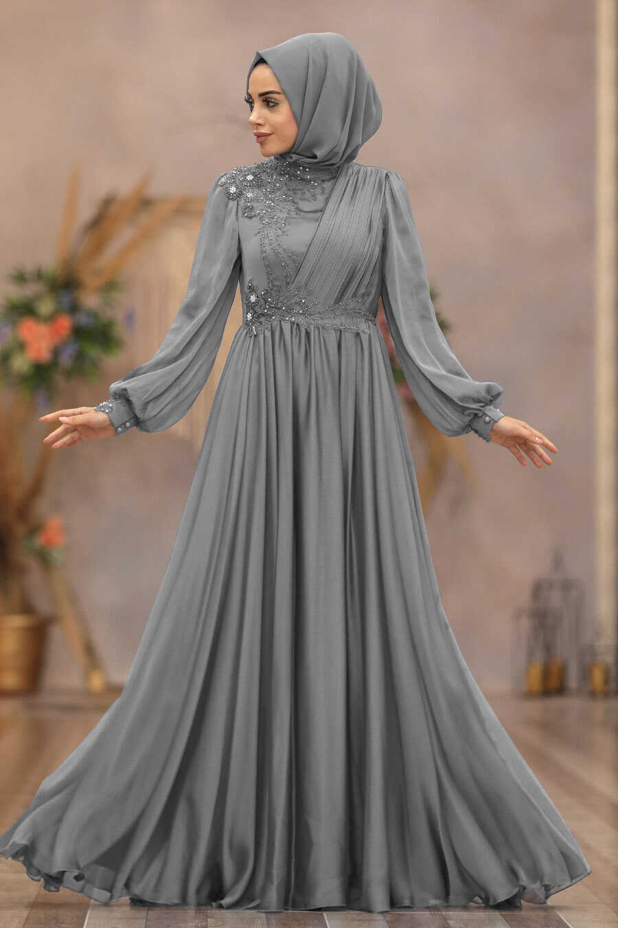 Grey Hijab Evening Dress 21650GR