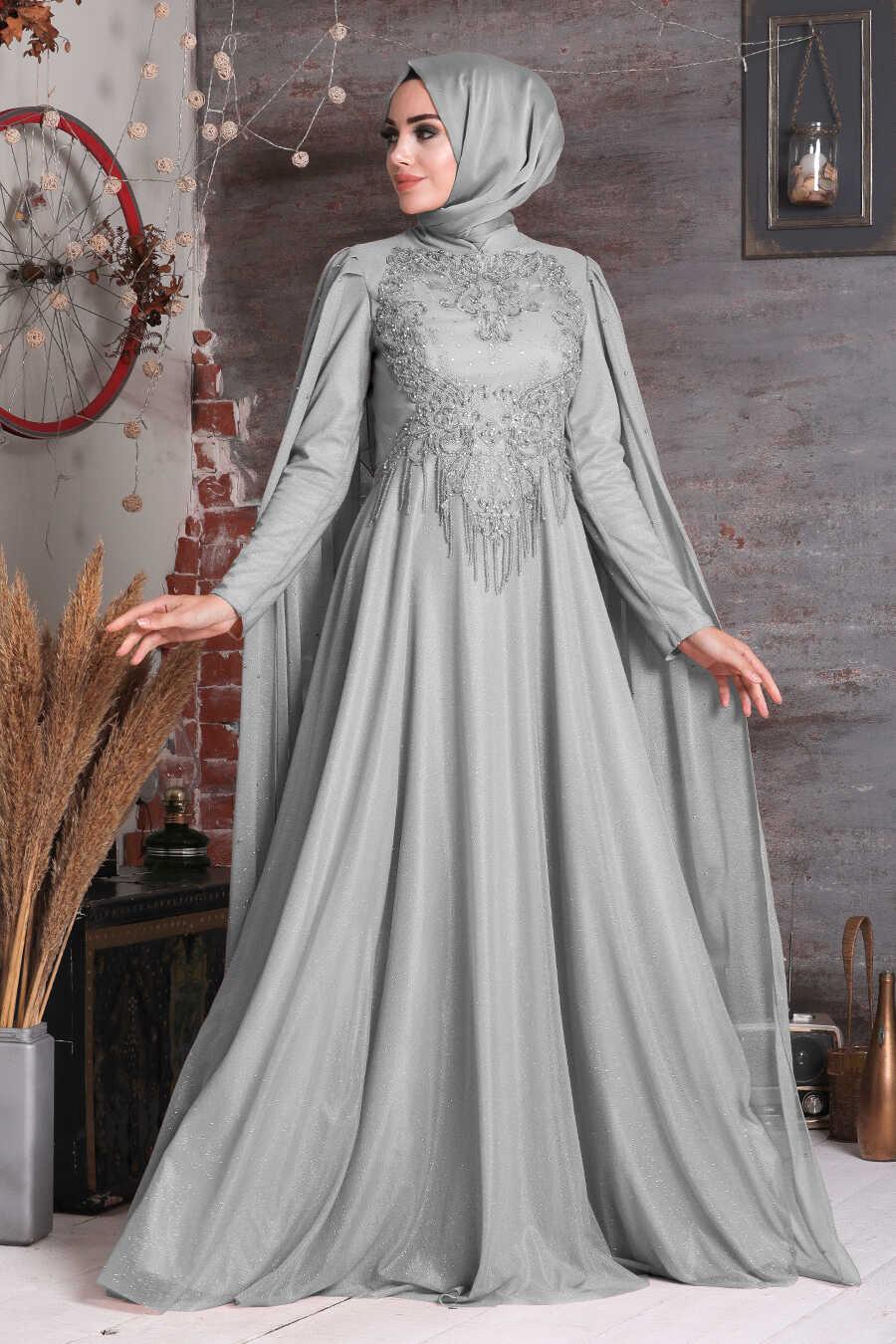 Grey Hijab Evening Dress 2177GR
