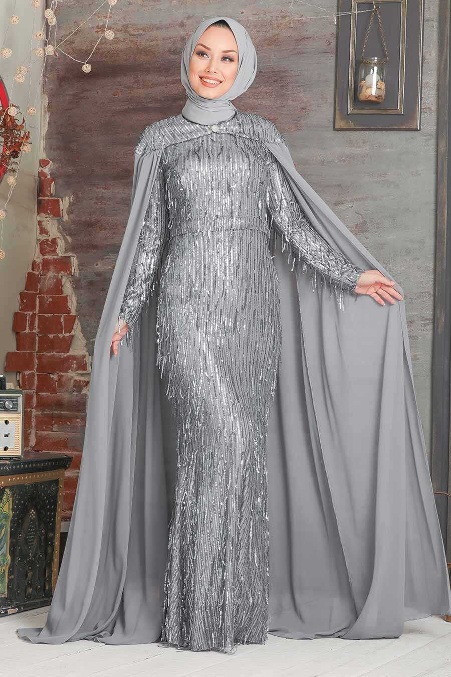 Grey Hijab Evening Dress 3450GR