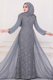 Grey Hijab Evening Dress 40280GR - Thumbnail