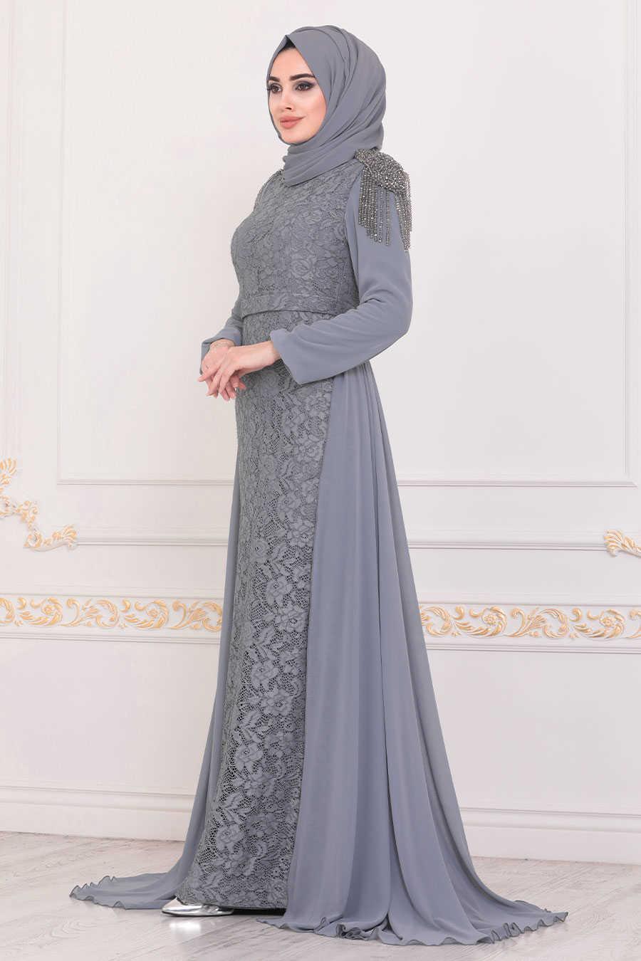 Grey Hijab Evening Dress 40280GR