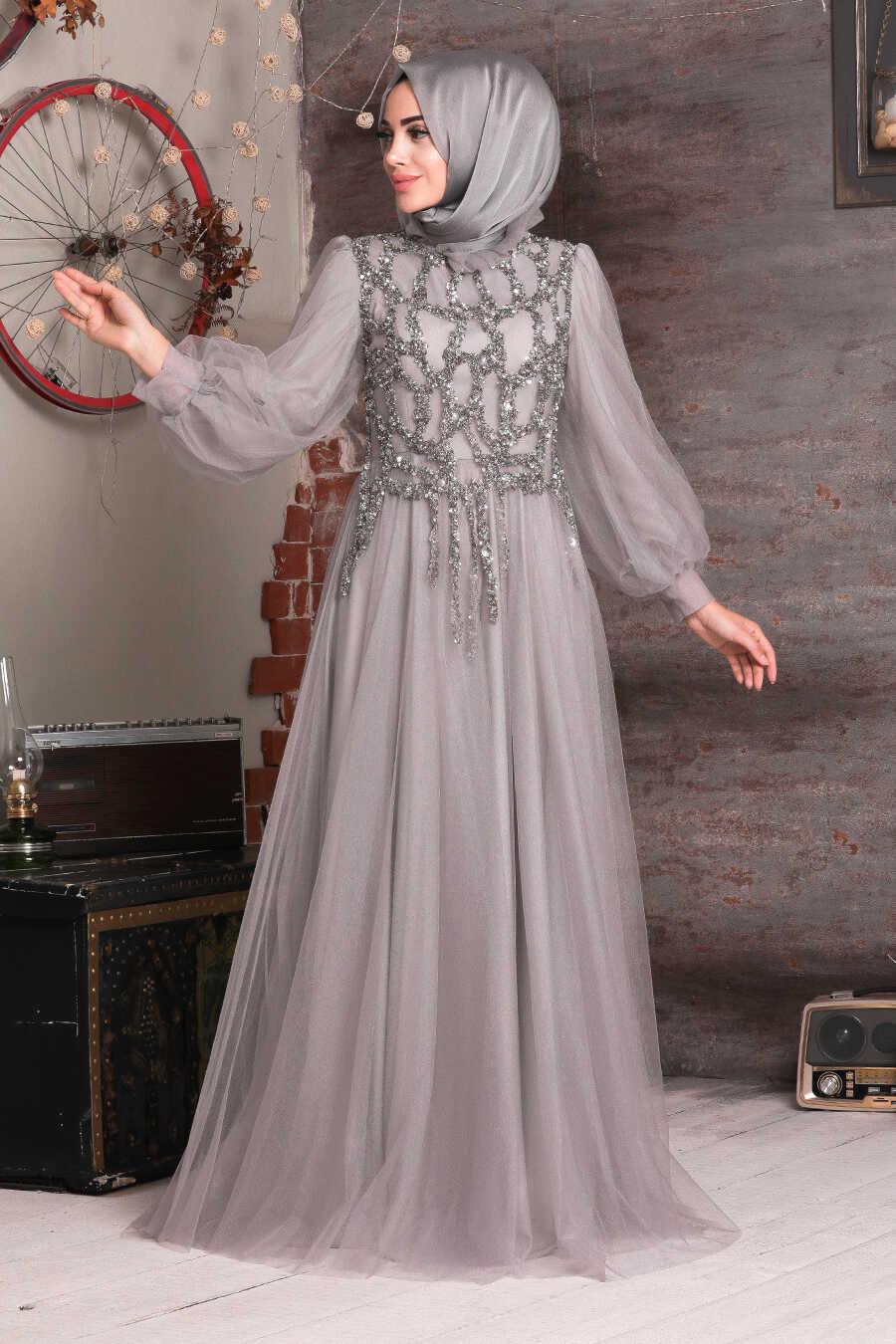 Grey Hijab Evening Dress 4093GR