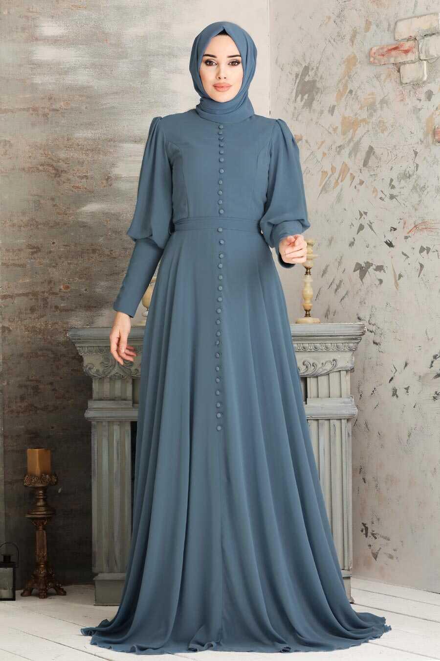 Grey Hijab Evening Dress 54551GR