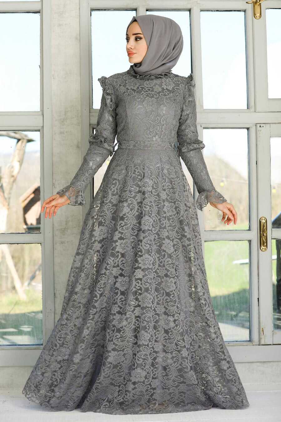 Grey Hijab Evening Dress 54750GR