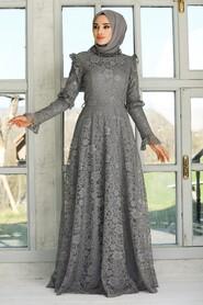 Grey Hijab Evening Dress 54750GR - Thumbnail