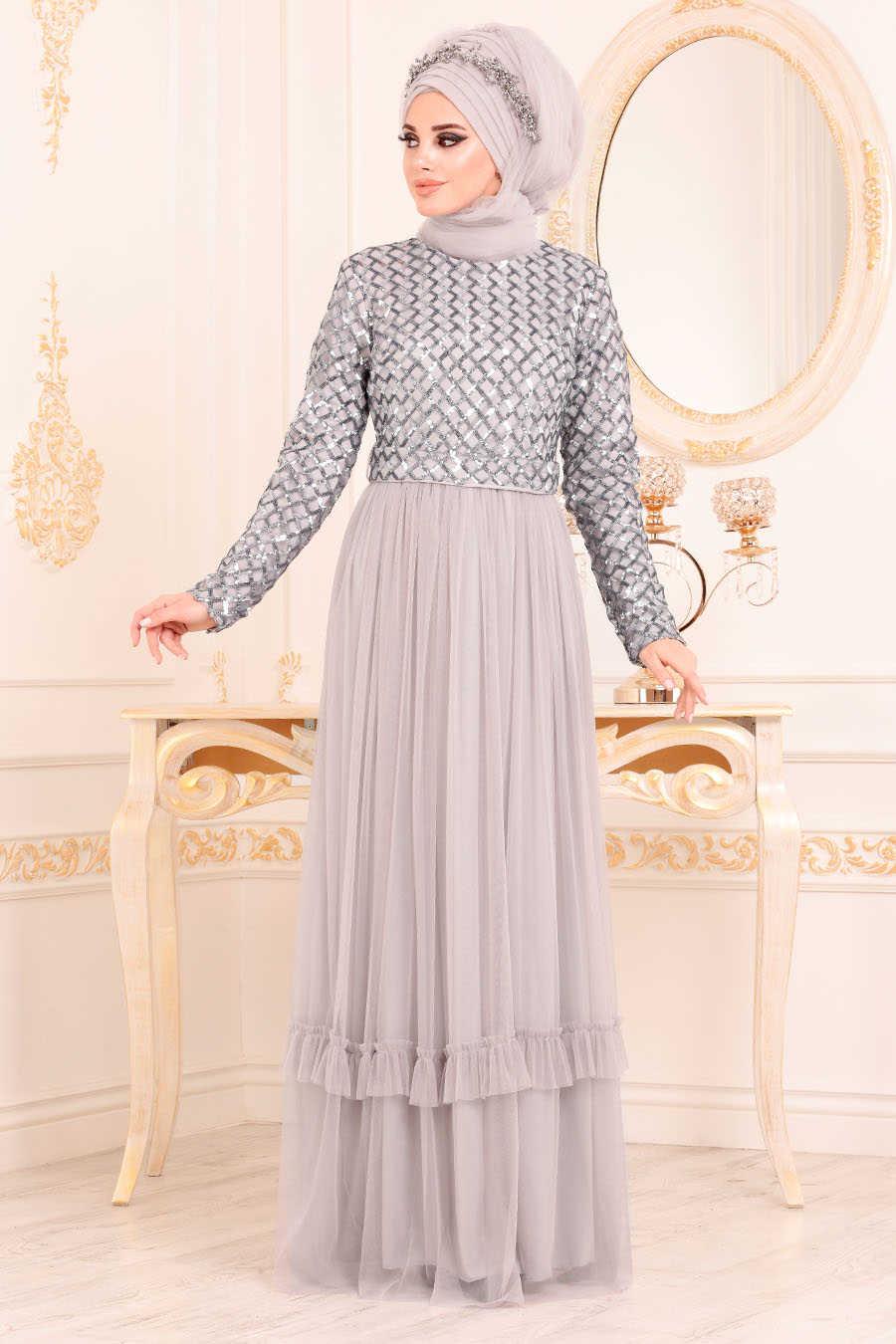 Pul Payetli Gri Tesettur Abiye Elbise 8570gr Neva Style Com