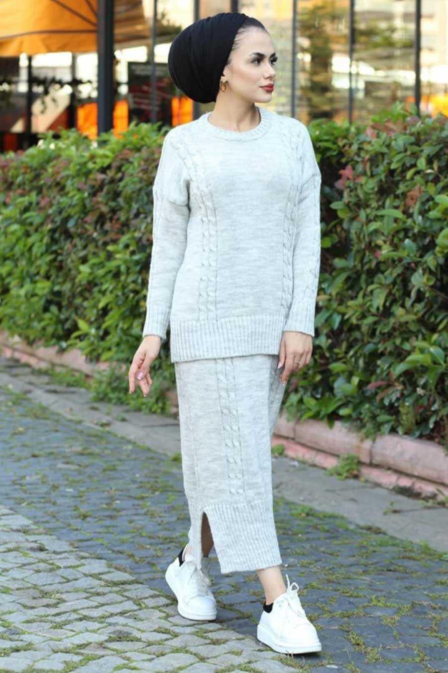 Grey Hijab Knitwear Suit 6010GR