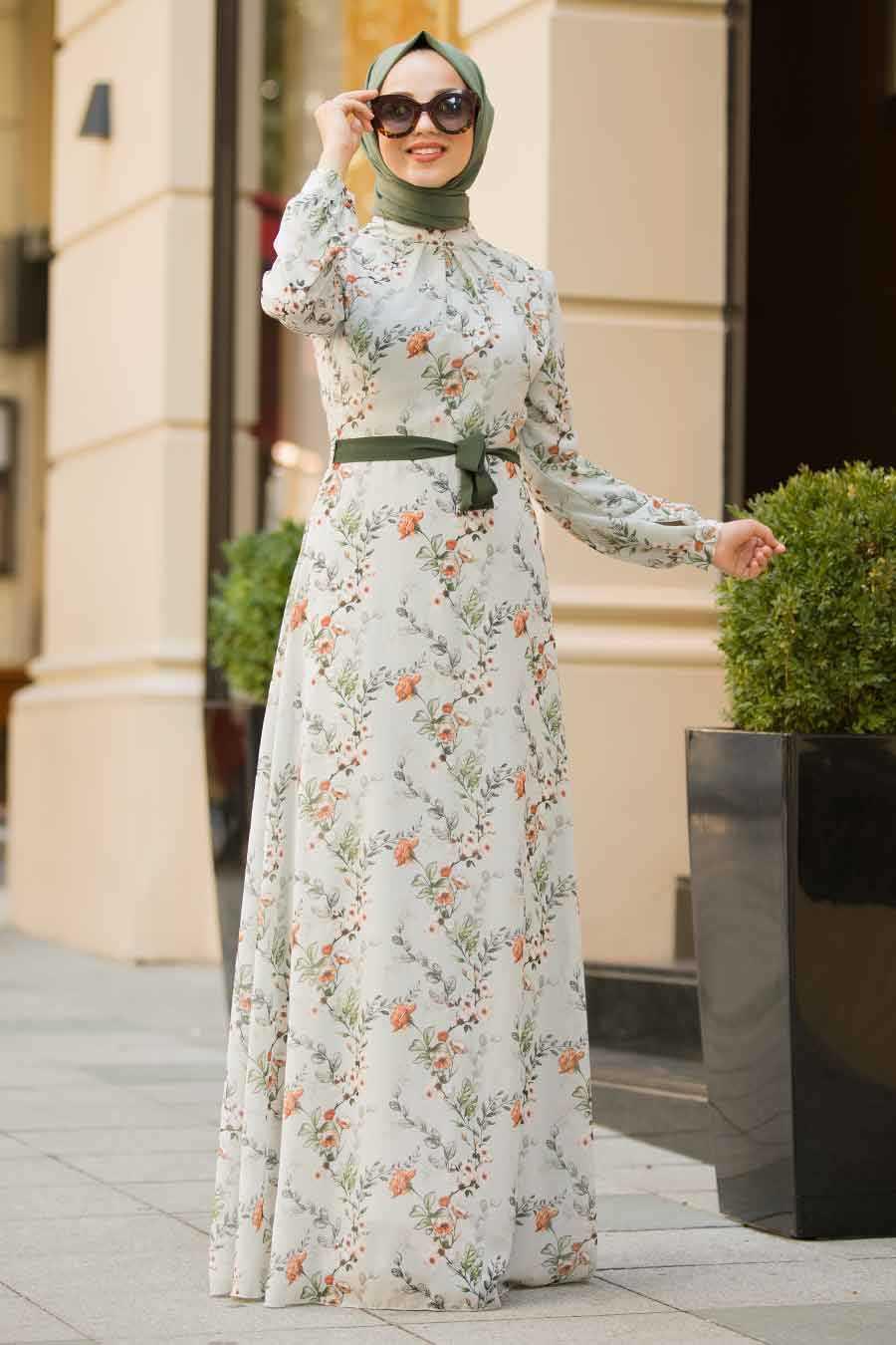 Grey Hijab Evening Dress 815217GR