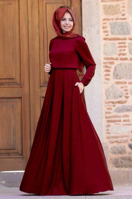 Gülce Bordo Tesettür Abiye Elbise 6753BR