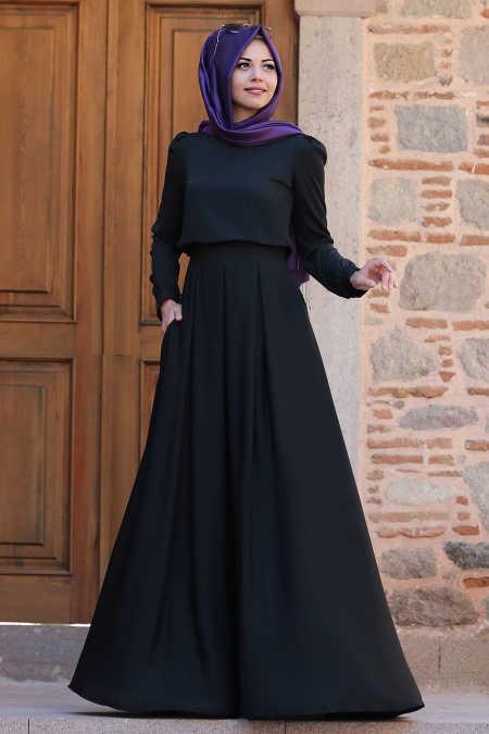 Gülce Siyah Tesettür Abiye Elbise 6753S