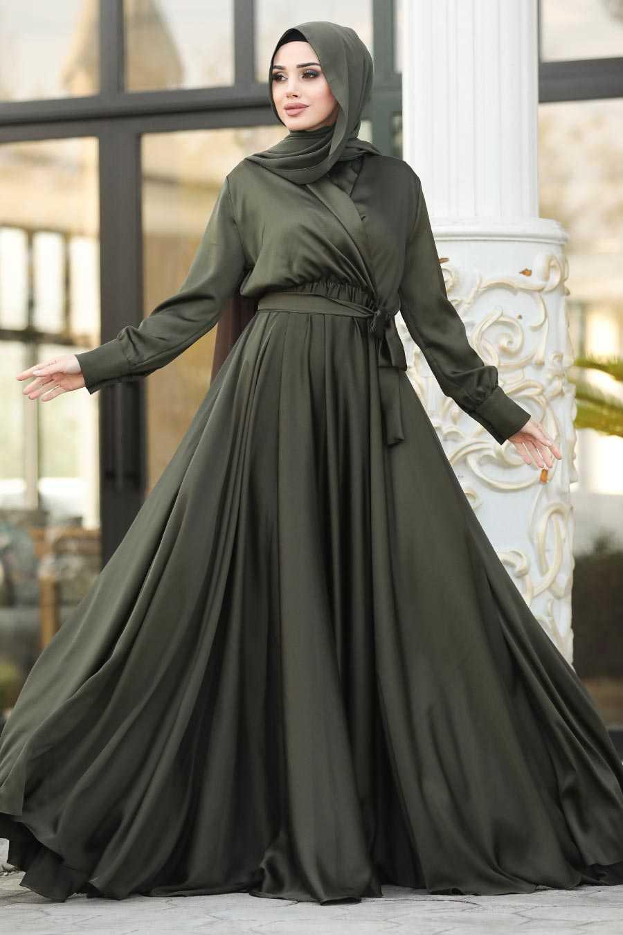 Haki Tesettür Abiye Elbise 1418HK