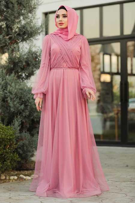 İnci Detaylı Gül Kurusu Tesettür Abiye Elbise 2140GK