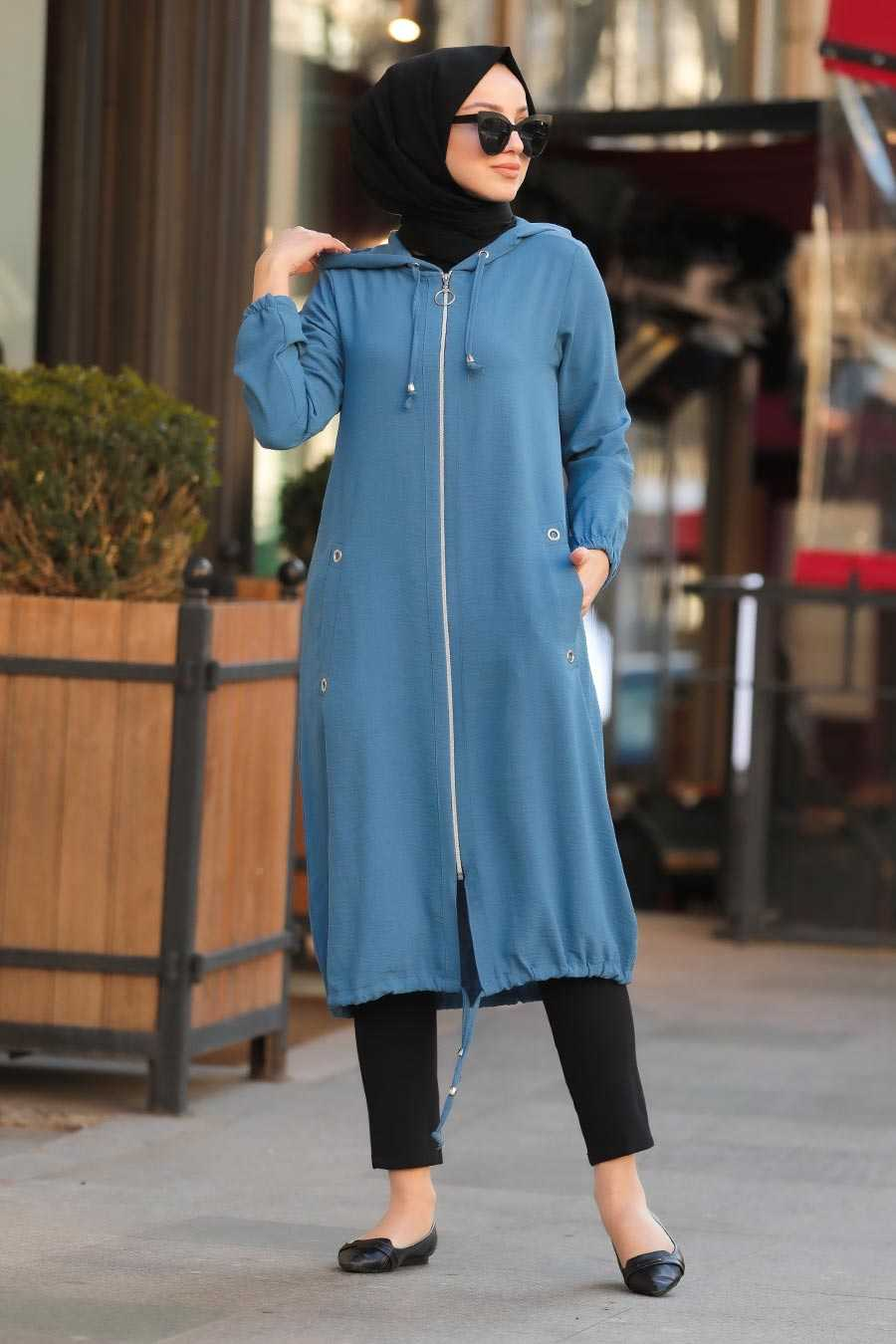 İndigo Blue Hijab Coat 10045IM