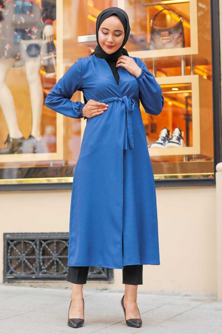 İndigo Blue Hijab Coat 37450IM
