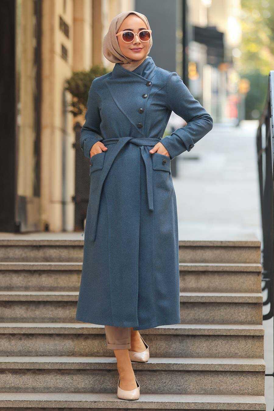 İndigo Blue Hijab Coat 5074IM