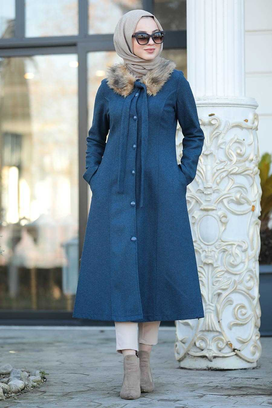 Indigo Blue Hijab Coat 50840IM