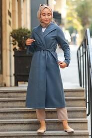 İndigo Blue Hijab Coat 5173IM - Thumbnail