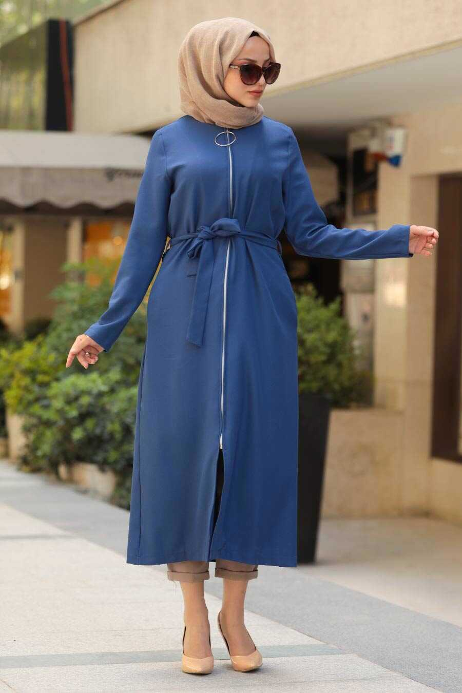İndigo Blue Hijab Coat 5554IM