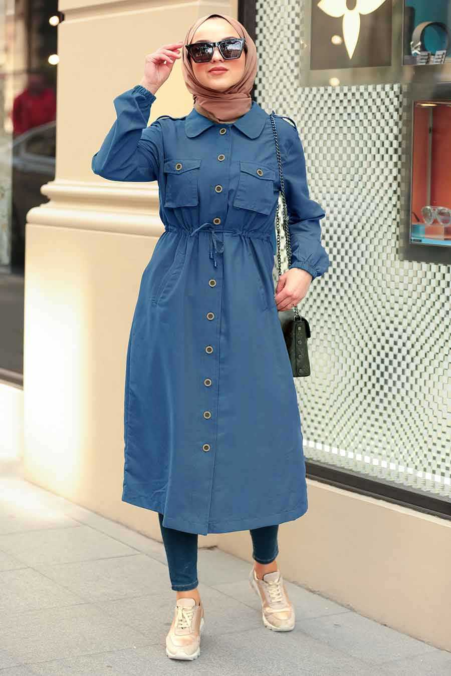İndigo Blue Hijab Coat 5671IM