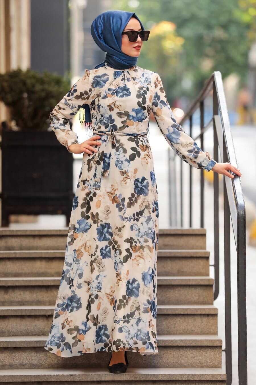 İndigo Blue Hijab Daily Dress 81544IM