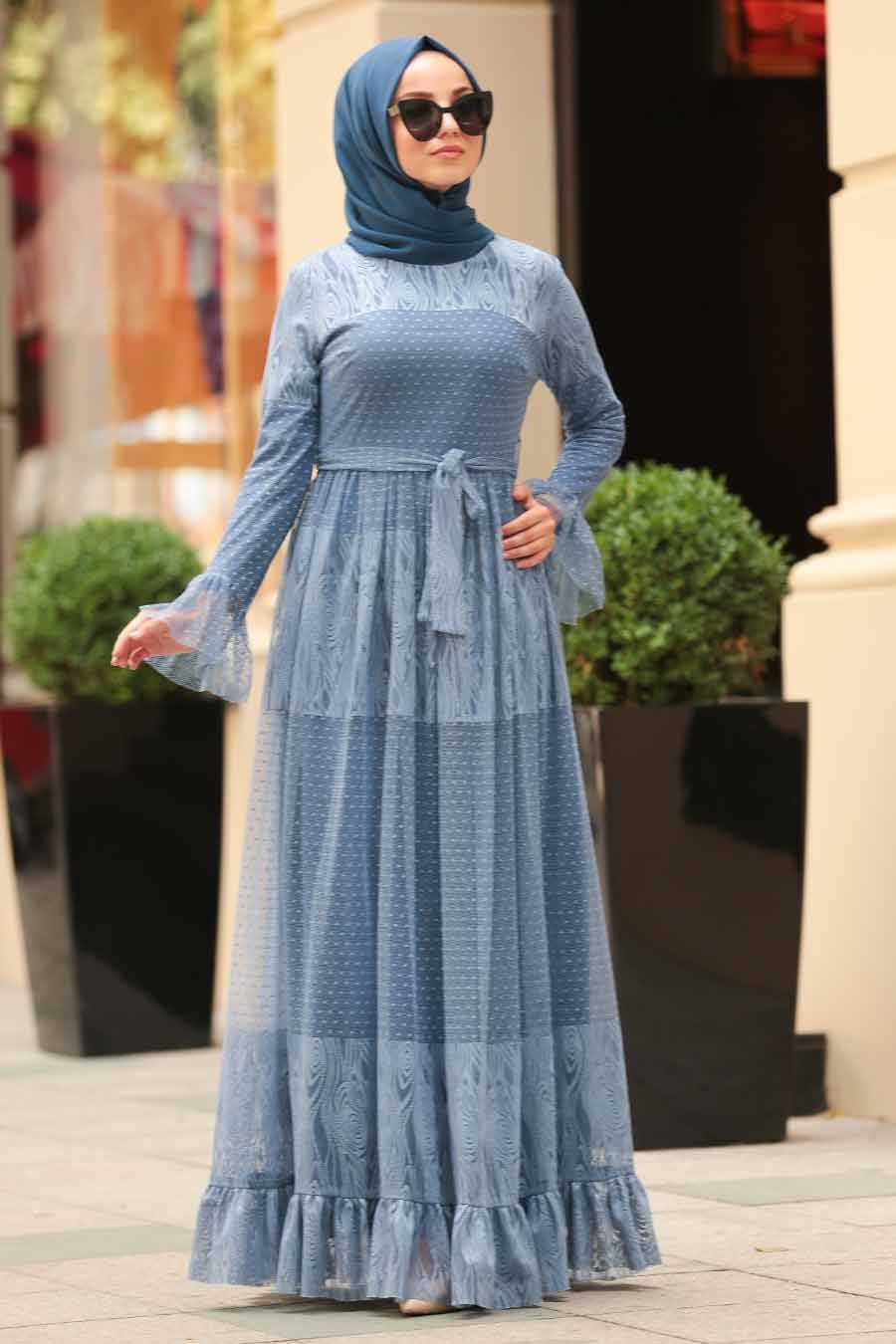Indigo Blue Hijab Dress 1306IM