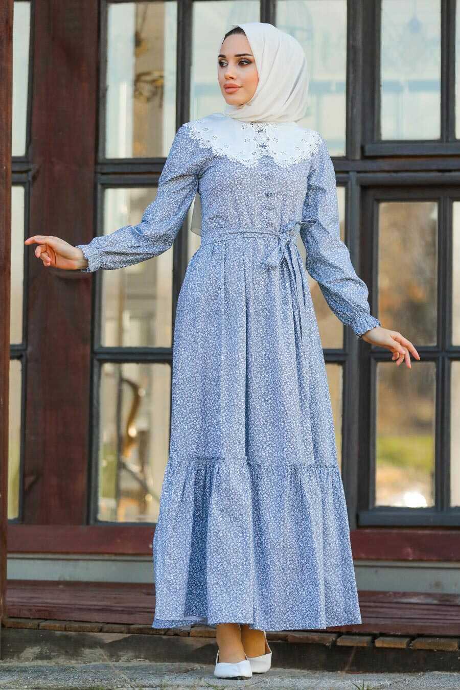 İndigo Blue Hijab Dress 14570IM