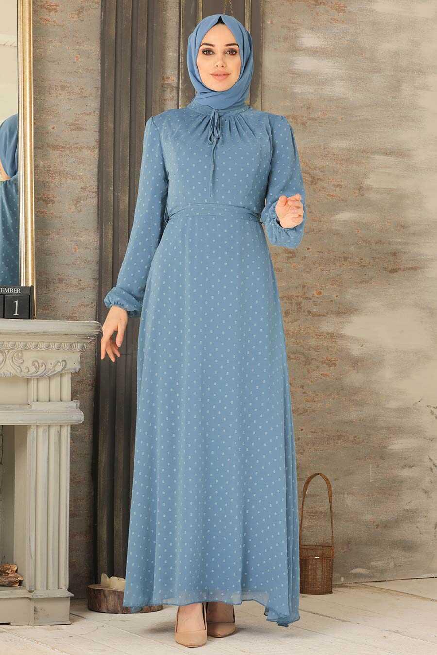 İndigo Blue Hijab Dress 2734IM