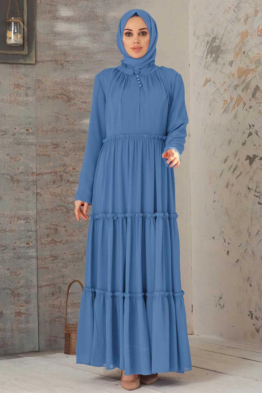 İndigo Blue Hijab Dress 2746IM