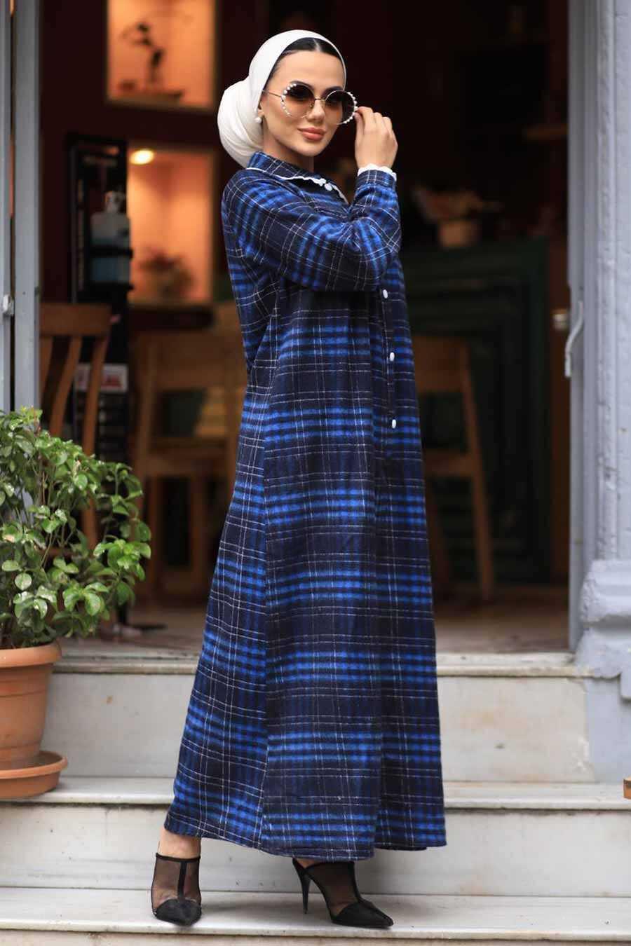 İndigo Blue Hijab Dress 4681IM
