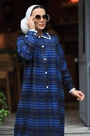 İndigo Blue Hijab Dress 4681IM - Thumbnail
