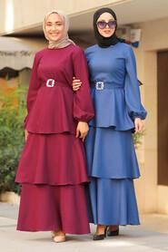 İndigo Blue Hijab Dress 5171IM - Thumbnail
