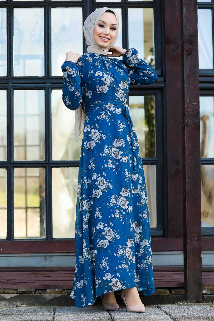 İndigo Blue Hijab Dress 81390IM