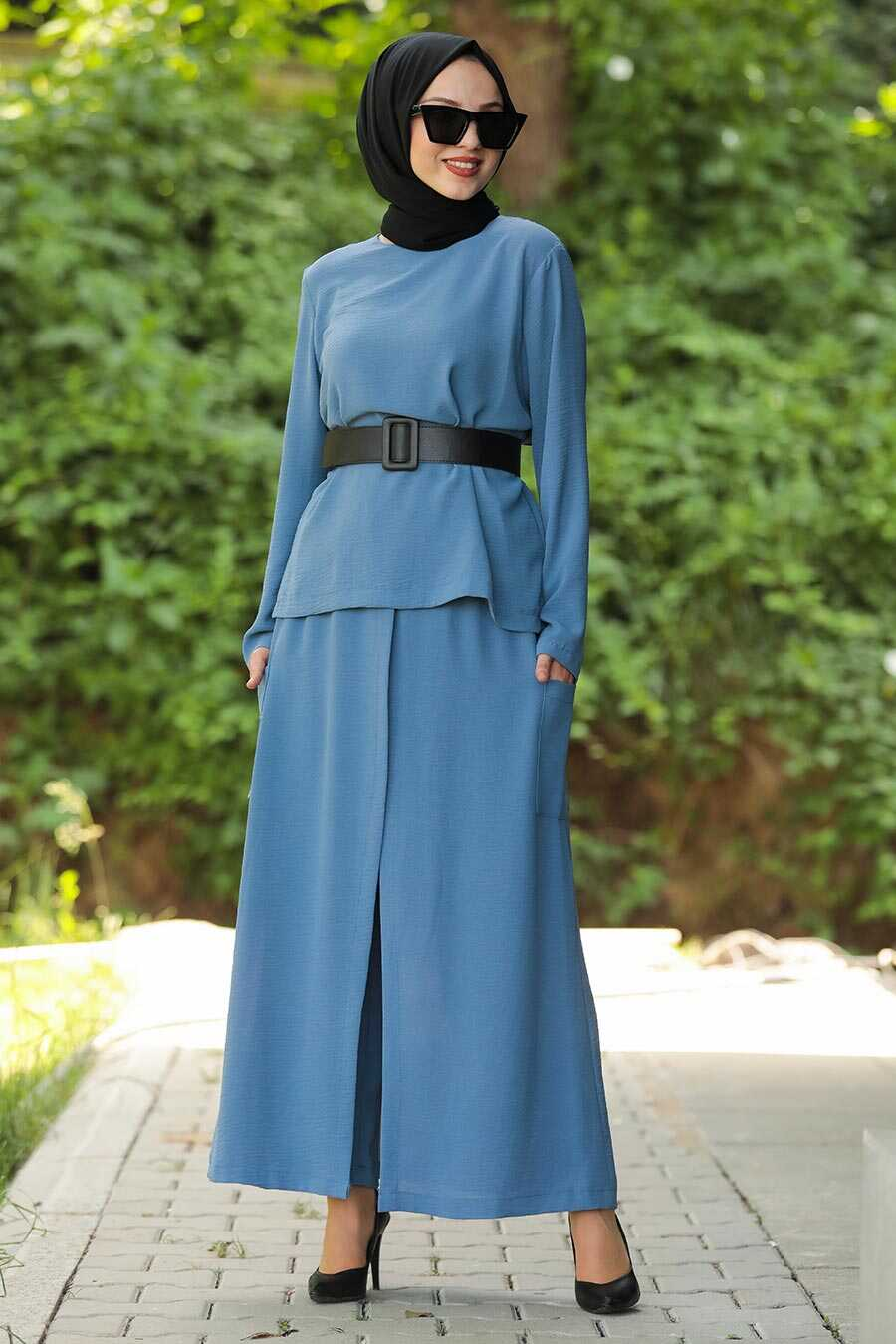 İndigo Blue Hijab Dual Suit Dress 12801IM