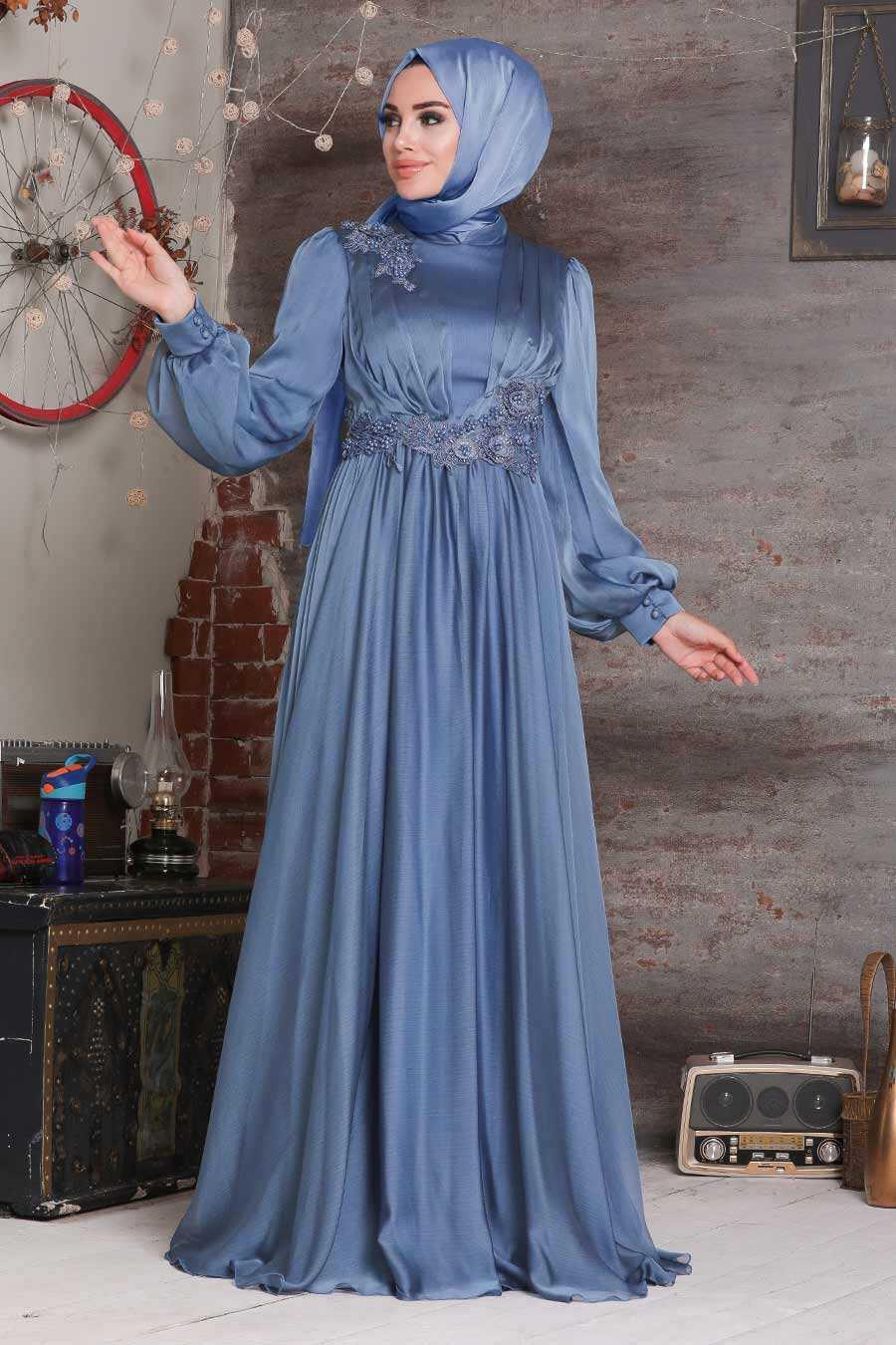 Indigo Blue Hijab Evening Dress 21630IM