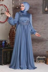 Indigo Blue Hijab Evening Dress 21630IM - Thumbnail