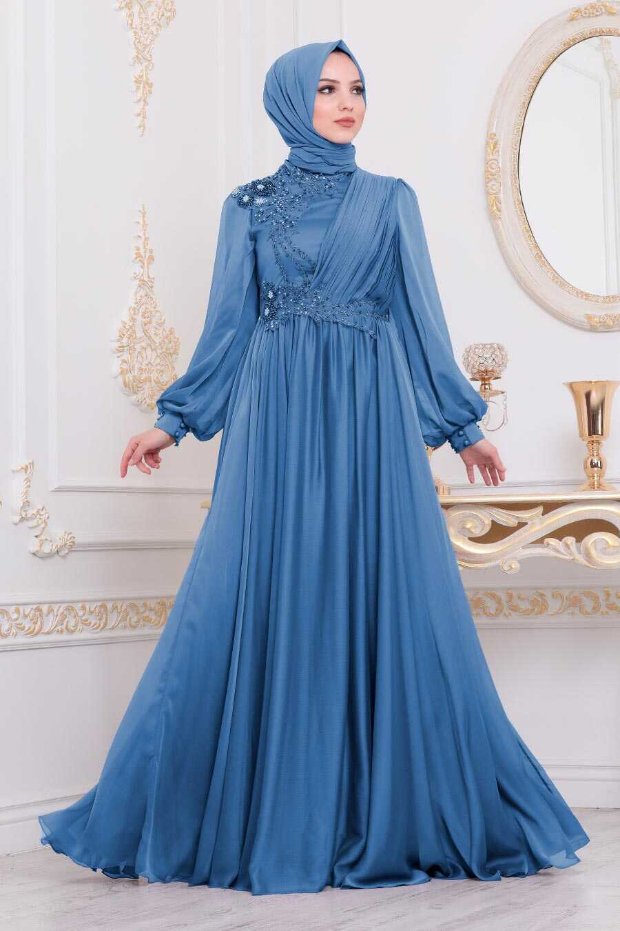 İndigo Blue Hijab Evening Dress 21650IM
